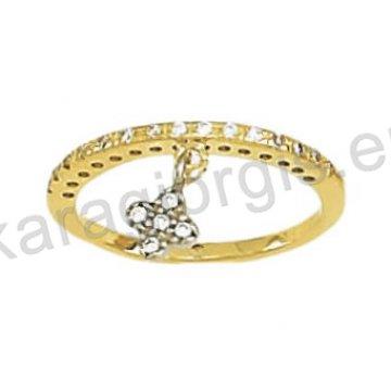 Σειρέ μισόβερο δαχτυλίδι χρυσό με κρεμαστό σταυρουδάκι και άσπρες πέτρες ζιργκόν