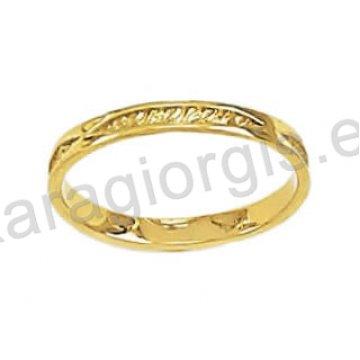 Ολόβερο δαχτυλίδι χρυσό με σκάλισμα