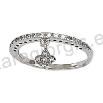Σειρέ μισόβερο δαχτυλίδι λευκόχρυσο με κρεμαστό σταυρουδάκι και άσπρες  πέτρες ζιργκόν 300c131c7a8