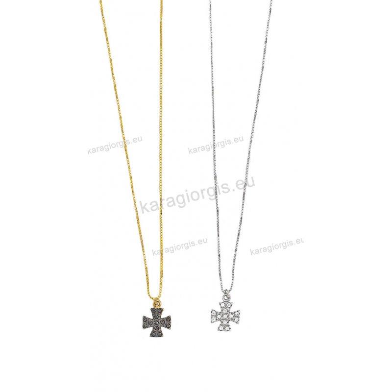 Κολιέ χρυσό ή λευκόχρυσο με κρεμαστό σταυρουδάκι με άσπρες ή μαύρες πέτρες  ζιργκόν f8e1c400102