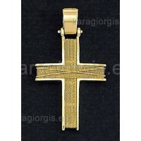Βαπτιστικός σταυρός χρυσός για αγόρι με χρυσό σύρμα γυρισμένο στο χέρι