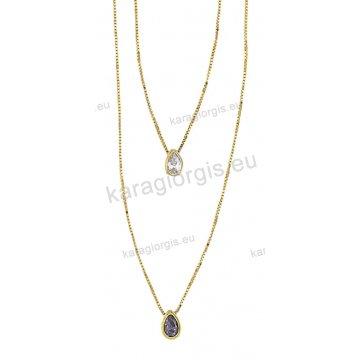 Κολιέ χρυσό με κρεμαστό μονοπετράκι σε σχήμα δάκρυ με άσπρη ή μωβ πέτρα  ζιργκόν 1a11f8b748b
