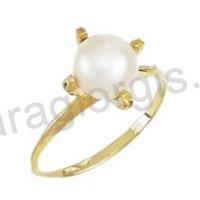 Μονόπετρο δαχτυλίδι χρυσό Κ14 με μαργαριτάρι και λευκές πέτρες ζιργκόν