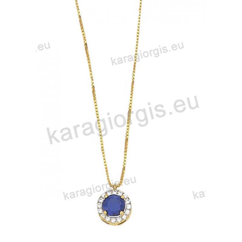 Χρυσό κολιέ Κ14 με ενσωματωμένη ροζέτα με και λευκές και μπλε πέτρα ζιργκόν  στο χρώμα του e6d565eae95