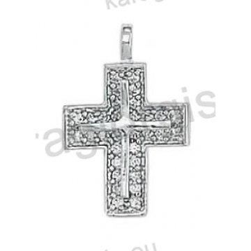 Σταυρός γυναικείος λευκόχρυσος Κ14 με άσπρες πέτρες ζιργκόν