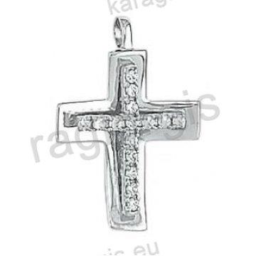 Σταυρός γυναικείος λευκόχρυσος Κ14 με λουστρέ φινίρισμα με άσπρες πέτρες ζιργκόν