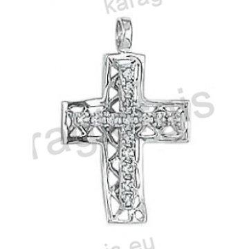 Σταυρός γυναικείος λευκόχρυσος Κ14 με χιαστή πλέξη με άσπρες πέτρες ζιργκόν
