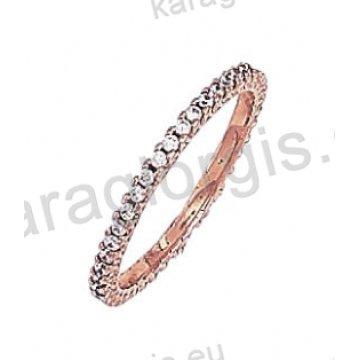 Μοντέρνο ολόβερο δαχτυλίδι Κ14 σε ροζ χρυσό με άσπρες πέτρες ζιργκόν
