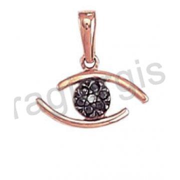 Μοντέρνο μενταγιόν σε σχήμα ματάκι σε ροζ χρυσό με άσπρη και μαύρες πέτρες ζιργκόν