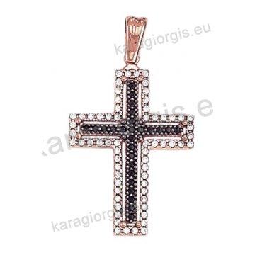 Σταυρός σε ροζ χρυσό Κ14 με άσπρες και μαύρες πέτρες ζιργκόν