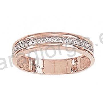 Σειρέ Δαχτυλίδι ροζ χρυσό K14 σε μοντέρνο σχέδιο με λευκές πέτρες ζιργκόν
