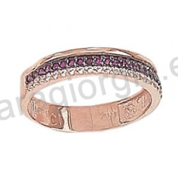 Σειρέ Δαχτυλίδι ροζ χρυσό K14 σε μοντέρνο σχέδιο με λευκές και κόκκινες πέτρες ζιργκόν