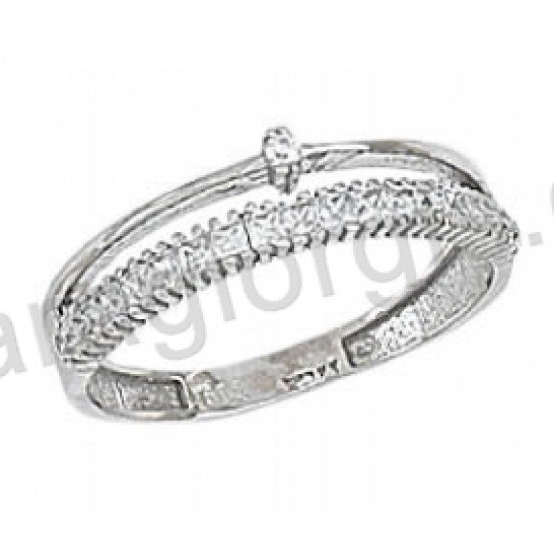 DE398 Δαχτυλίδι σειρέ με μονόπετρο Κ14 λευκόχρυσο με άσπρες πέτρες ... cf26a8434e2