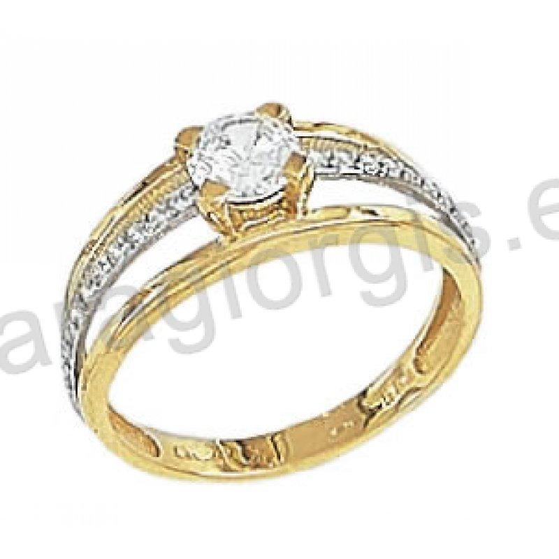 Μονόπετρο δαχτυλίδι Κ14 μοντέρνο δίχρωμο χρυσό με λευκόχρυσο με άσπρες  πέτρες ζιργκόν στα πλαϊνά e9d4df13d60