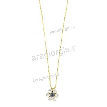 Κολιέ χρυσό με κρεμαστή μαργαρίτα με άσπρες και μαύρες πέτρες ζιργκόν b86f5fa8453
