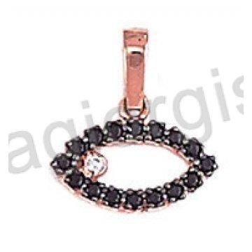 Μενταγιόν ματάκι σε ροζ gold Κ14 με μαύρες πέτρες ζιργκόν