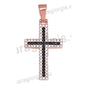 Σταυρός ροζ gold γυναικείος Κ14 με άσπρες και μαύρες πέτρες ζιργκόν