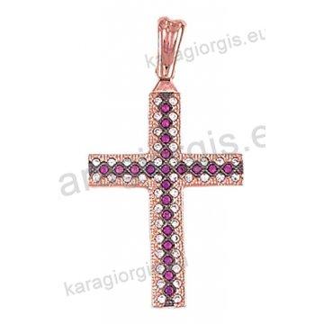 Σταυρός ροζ gold γυναικείος Κ14 με άσπρες, κόκκινες πέτρες ζιργκόν και μαύρο πλατίνωμα