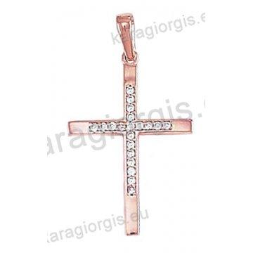 Σταυρός ροζ gold γυναικείος Κ14 με άσπρες πέτρες ζιργκόν