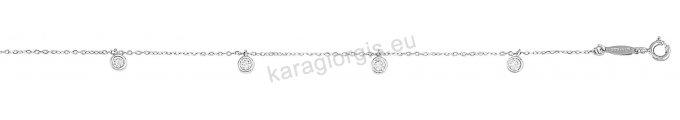 Βραχιόλι fashion λευκόχρυσο Κ14 με κρεμαστά μονοπετράκια με άσπρες πέτρες ζιργκόν