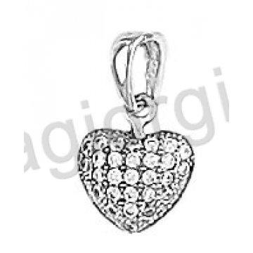 Μενταγιόν Κ14 λευκόχρυσο σε σχήμα κάρδιας με άσπρες πέτρες ζιργκόν
