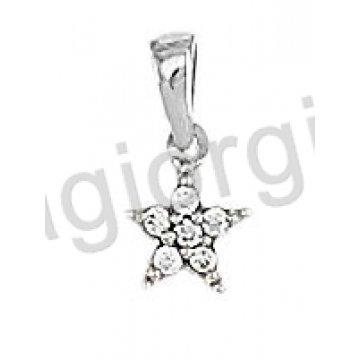 Μενταγιόν Κ14 λευκόχρυσο σε σχήμα αστέρι με άσπρες πέτρες ζιργκόν