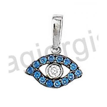 Μενταγιόν Κ14 λευκόχρυσο ματάκι με άσπρη και μπλε πέτρες ζιργκόν