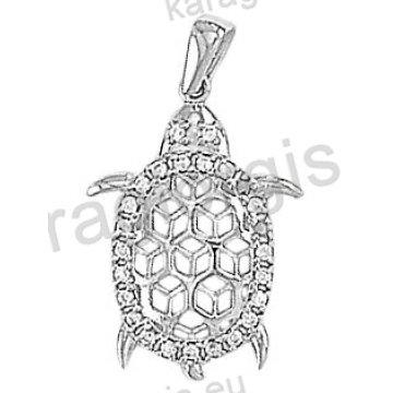 Μενταγιόν Κ14 λευκόχρυσο χελώνα με άσπρες πέτρες ζιργκόν