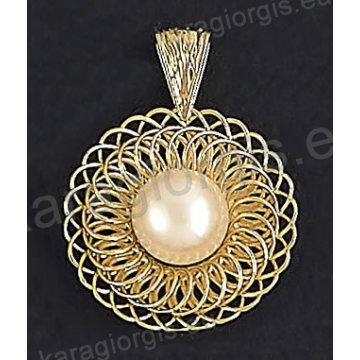 Μενταγιόν fashion χρυσό Κ14 με συρμάτινο πλέξιμο με πέρλα