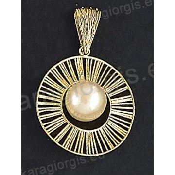 Μενταγιόν fashion χρυσό Κ14 σε στρογγυλό ακτινωτό συρμάτινο μοντέρνο σχέδιο