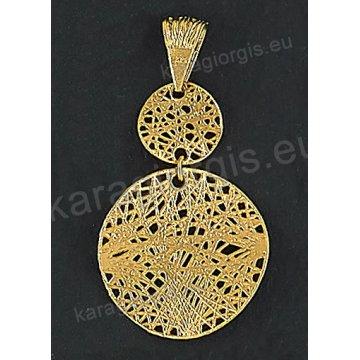 Μενταγιόν fashion χρυσό Κ14 με συρμάτινο πλέξιμο σε μοντέρνο σχέδιο