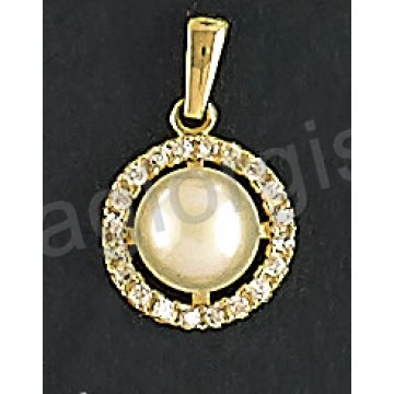 Μενταγιόν χρυσό Κ14 με πέρλα και άσπρες πέτρες ζιργκόν
