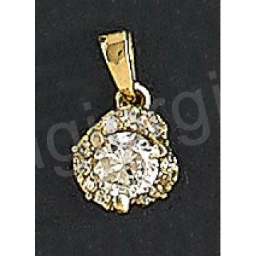 Μενταγιόν χρυσό Κ14 με άσπρες πέτρες ζιργκόν