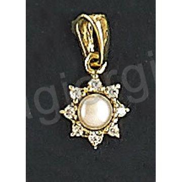 Μενταγιόν χρυσό Κ14 σε σχήμα λουλουδιού με πέρλα και με άσπρες πέτρες ζιργκόν