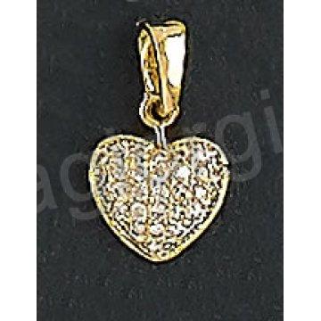 Μενταγιόν χρυσό Κ14 σε σχήμα καρδιάς με άσπρες πέτρες ζιργκόν