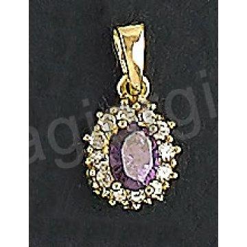 Μενταγιόν χρυσό Κ14 σε σχήμα ροζέτας με μωβ πέτρα στο χρώμα του αμέθυστου και άσπρες πέτρες ζιργκόν