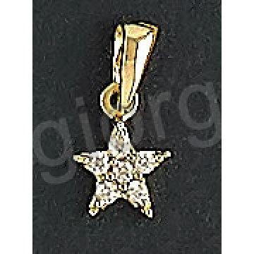 Μενταγιόν χρυσό Κ14 σε σχήμα αστεριού με άσπρες πέτρες ζιργκόν