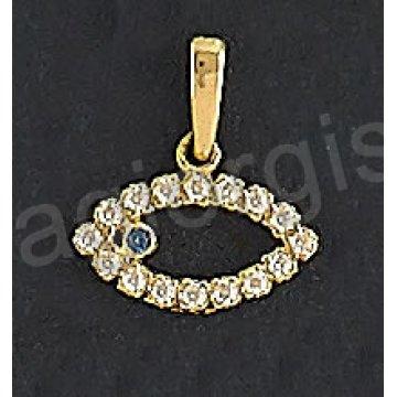Μενταγιόν χρυσό Κ14 ματάκι με άσπρες πέτρες ζιργκόν