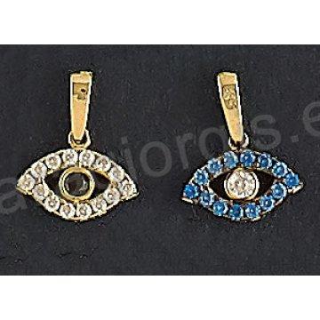 Μενταγιόν χρυσό Κ14 ματάκι με άσπρες ή μπλε πέτρες ζιργκόν