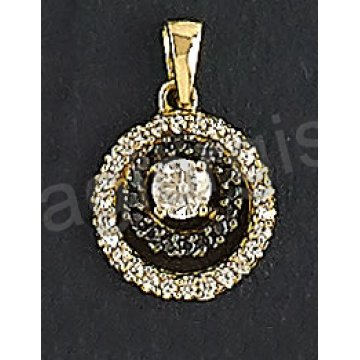 Μενταγιόν χρυσό Κ14 με άσπρες και μαύρες πέτρες ζιργκόν