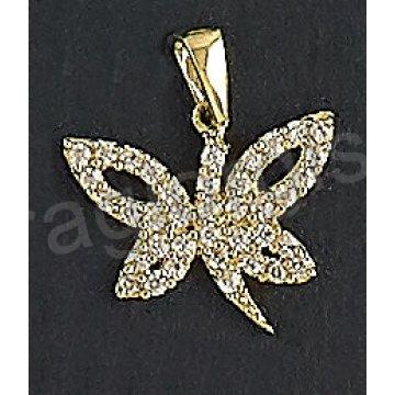 Μενταγιόν χρυσό Κ14 σε σχήμα πεταλούδας με άσπρες πέτρες ζιργκόν