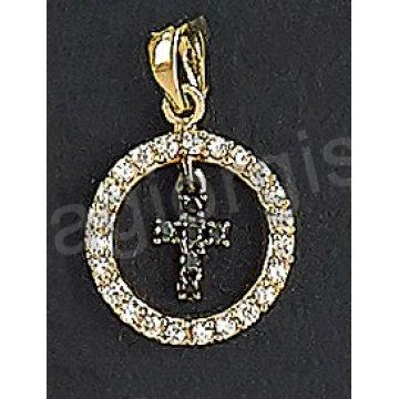 Μενταγιόν χρυσό Κ14 με σταυρουδάκι με άσπρες και μαύρες πέτρες ζιργκόν