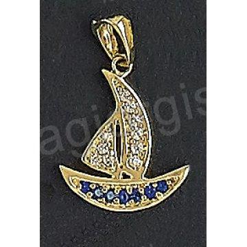 Μενταγιόν χρυσό Κ14 καραβάκι με άσπρες και μπλε πέτρες ζιργκόν