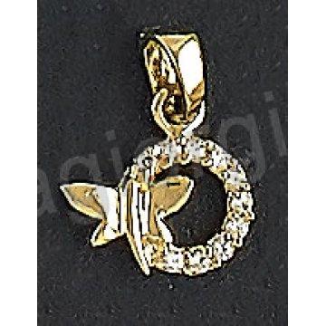 Μενταγιόν χρυσό Κ14 με πεταλουδίτσα με άσπρες πέτρες ζιργκόν