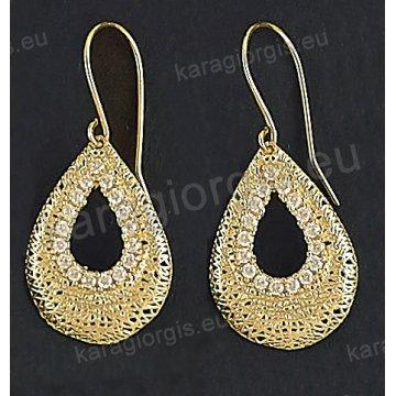 Σκουλαρίκια fashion χρυσά κρεμαστά Κ14 με συρμάτινο πλέξιμο σε μοντέρνο σχέδιο με άσπρες πέτρες ζιργκόν