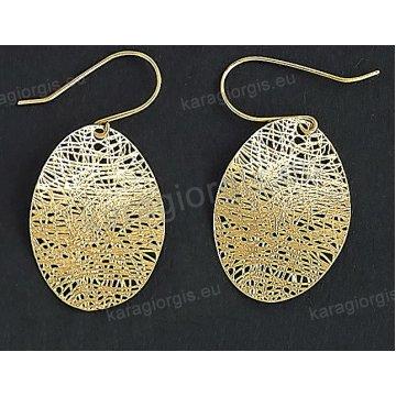 Σκουλαρίκια fashion χρυσά κρεμαστά Κ14 με συρμάτινο πλέξιμο σε μοντέρνο σχέδιο