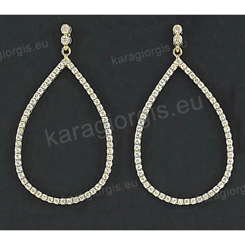 Σκουλαρίκια fashion χρυσά κρεμαστά Κ14 σε μοντέρνο σχέδιο με άσπρες πέτρες  ζιργκόν c5432a2fb66