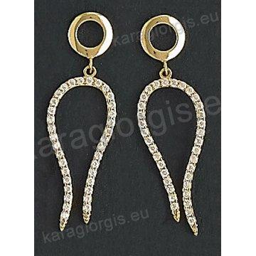 Σκουλαρίκια fashion χρυσά κρεμαστά Κ14 σε μοντέρνο σχέδιο με άσπρες πέτρες ζιργκόν