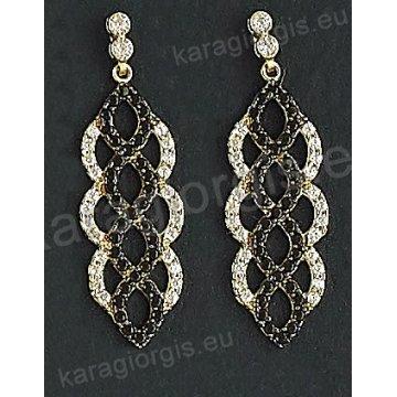 Σκουλαρίκια fashion χρυσά κρεμαστά Κ14 σε μοντέρνο σχέδιο με άσπρες και μαύρες πέτρες ζιργκόν