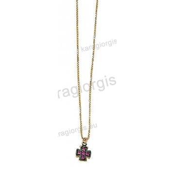 Κολιέ χρυσό Κ14 με μενταγιόν σταυρουδάκι με κόκκινες πέτρες ζιργκόν και  μαύρο πλατίνωμα 1ba44122bac